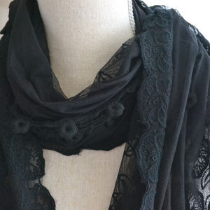 NEW Black long shall, scarf elegant details